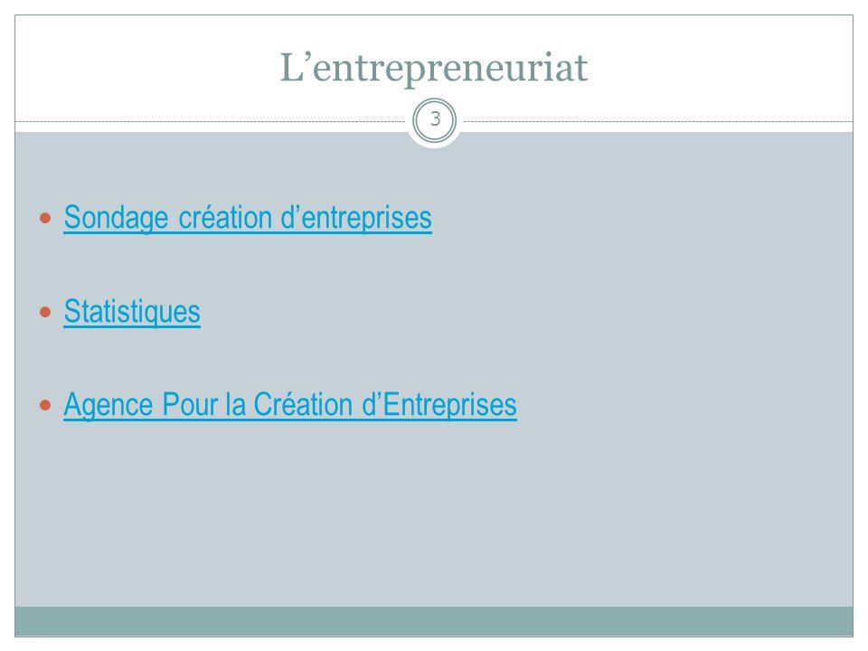 L'entrepreneuriat Sondage création d'entreprises Statistiques