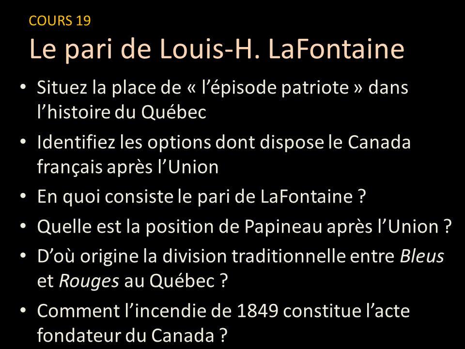 Situez la place de « l'épisode patriote » dans l'histoire du Québec