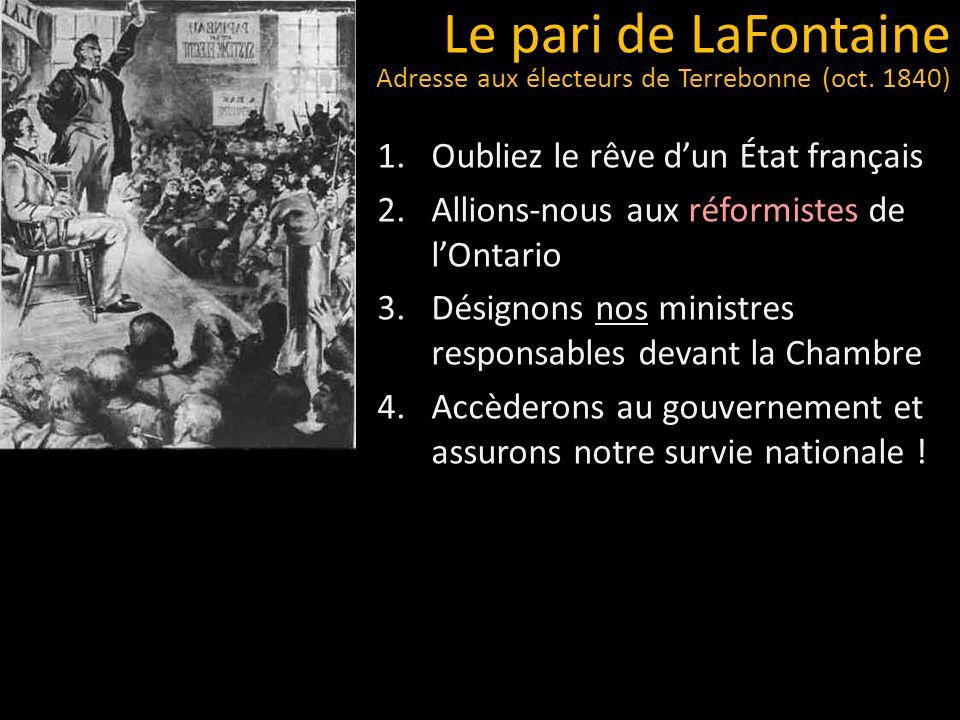 Le pari de LaFontaine Adresse aux électeurs de Terrebonne (oct. 1840)