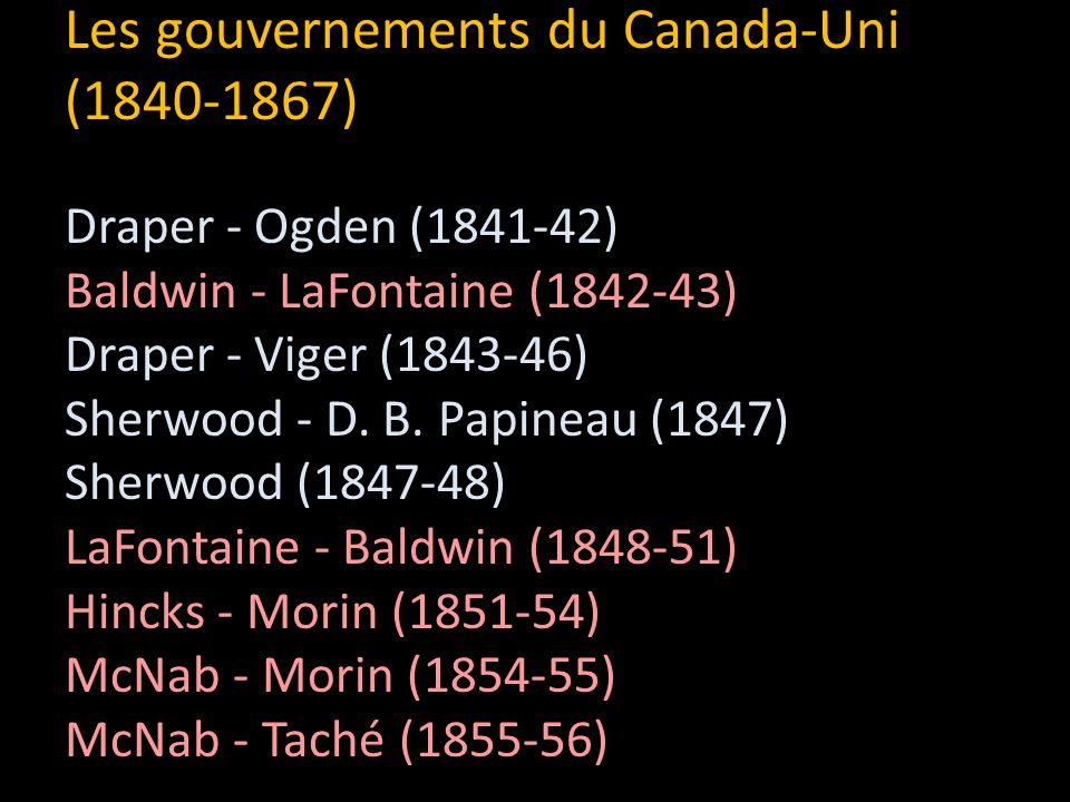 Les gouvernements du Canada-Uni (1840-1867)