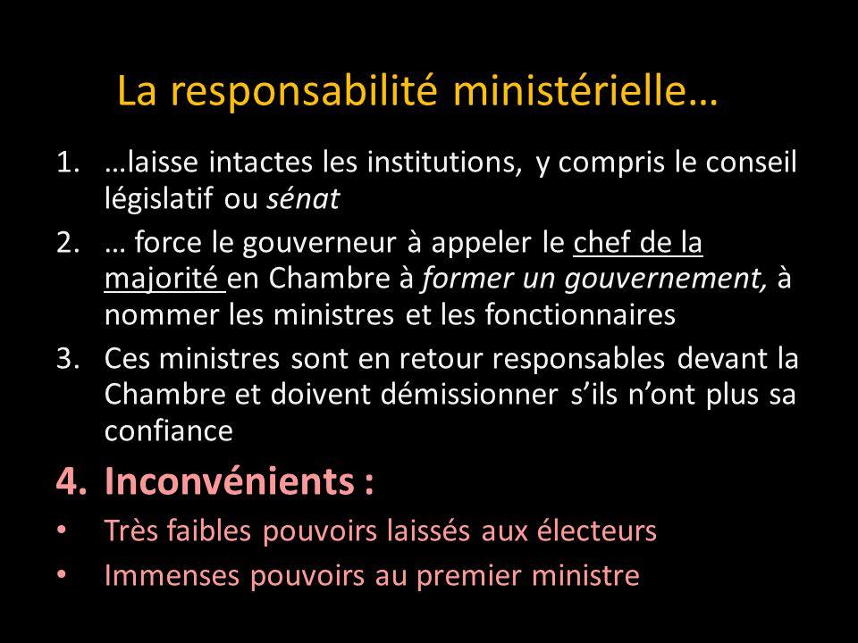 La responsabilité ministérielle…