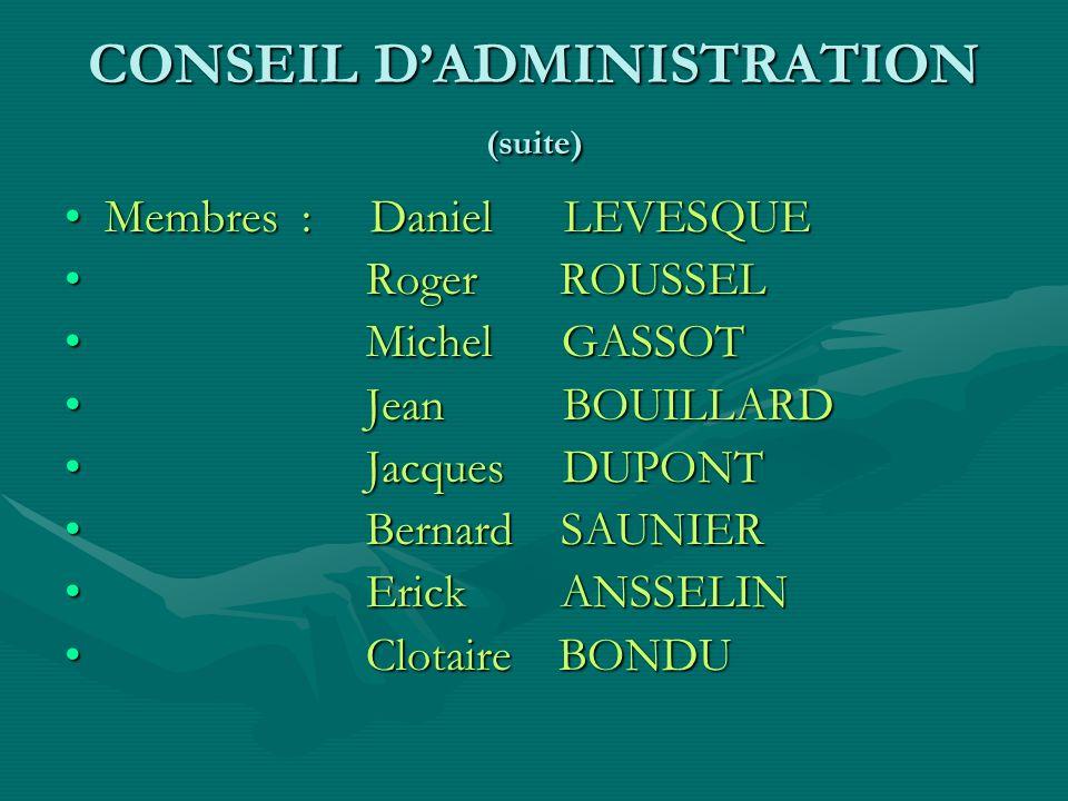 CONSEIL D'ADMINISTRATION (suite)
