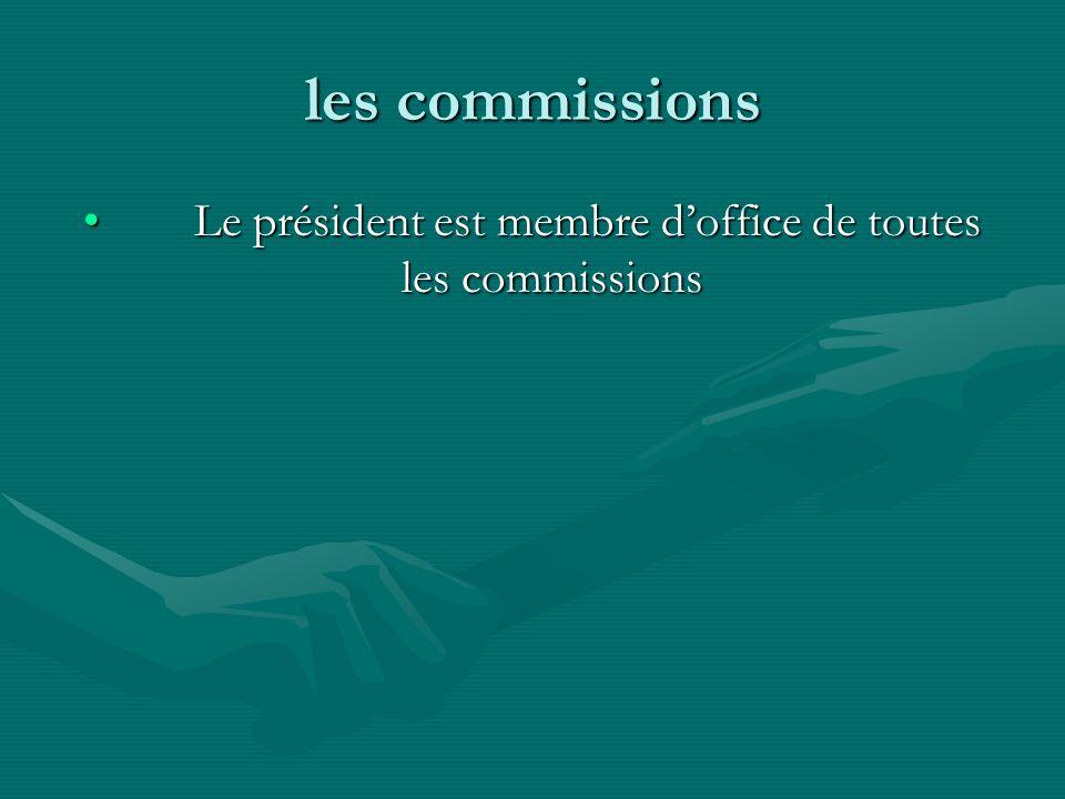 Le président est membre d'office de toutes les commissions