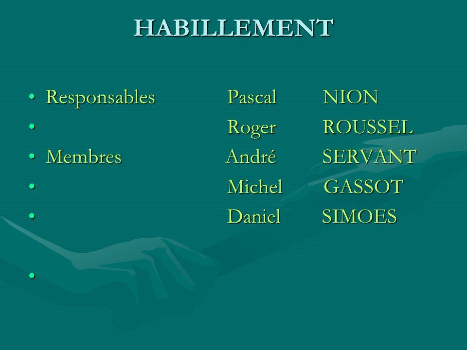 HABILLEMENT Responsables Pascal NION Roger ROUSSEL