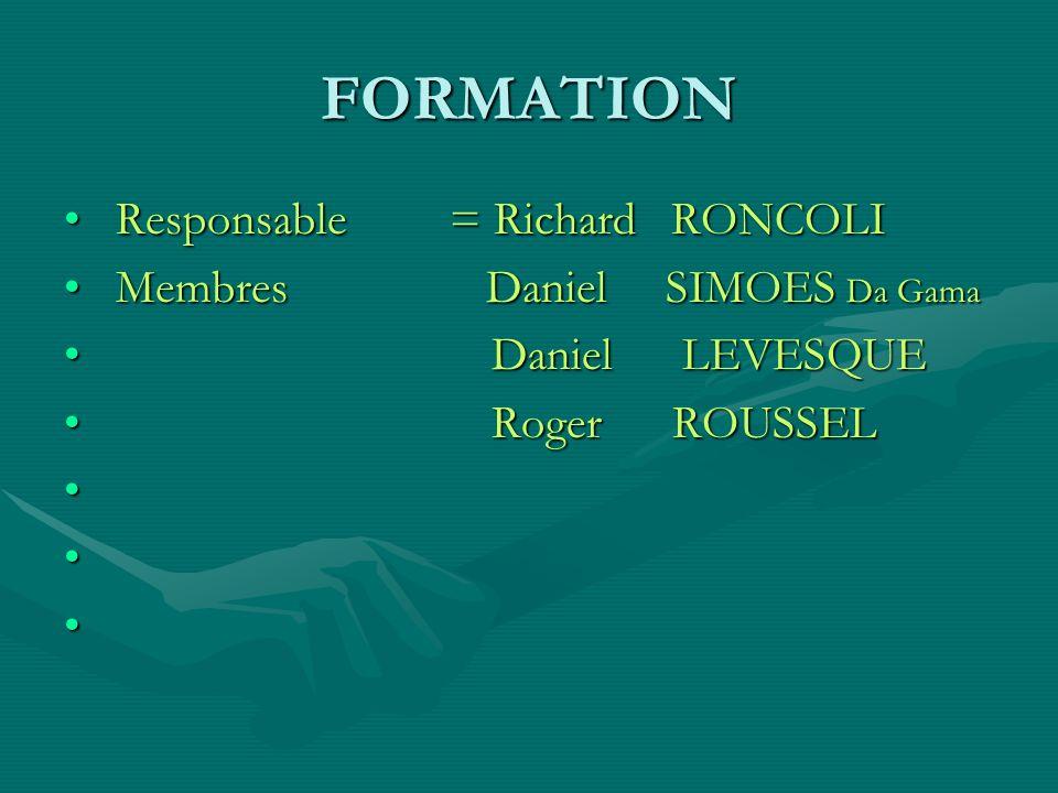 FORMATION Responsable = Richard RONCOLI Membres Daniel SIMOES Da Gama