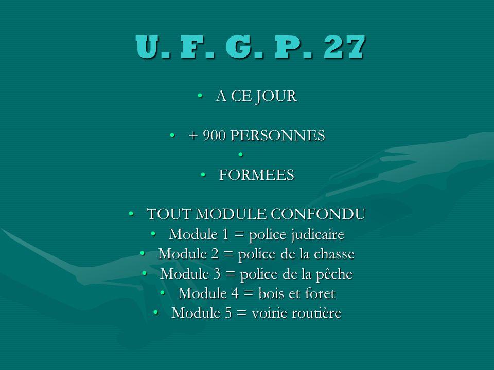 U. F. G. P. 27 A CE JOUR + 900 PERSONNES FORMEES TOUT MODULE CONFONDU