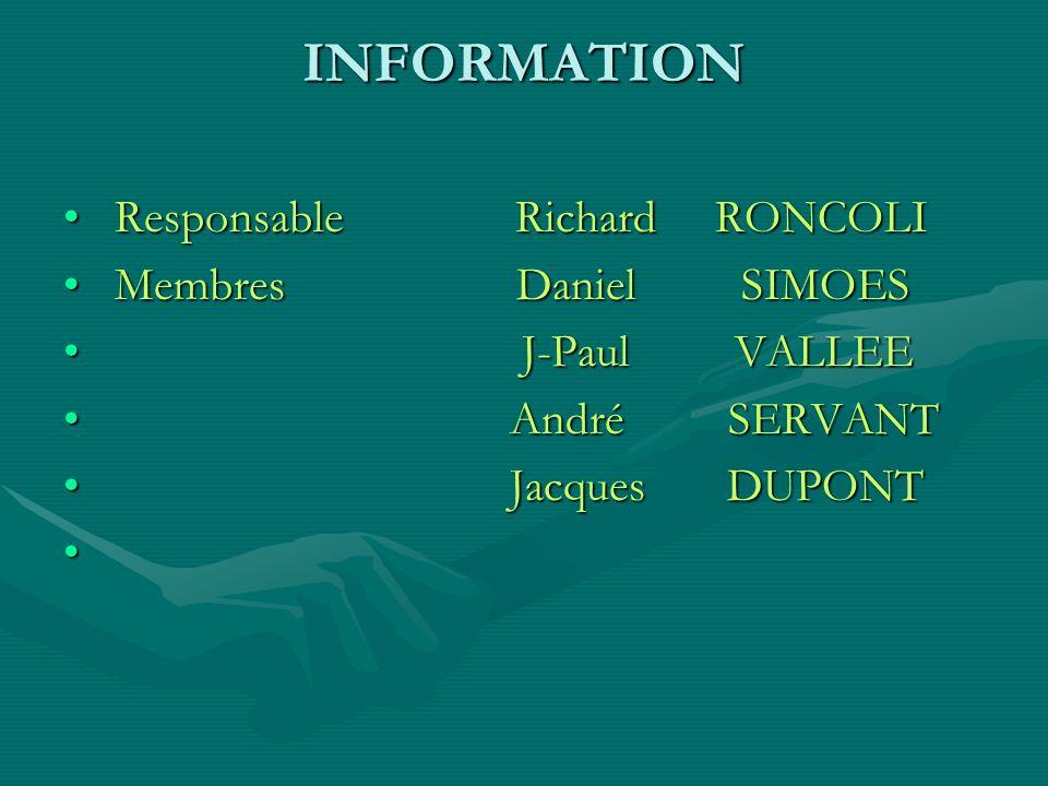 INFORMATION Responsable Richard RONCOLI Membres Daniel SIMOES