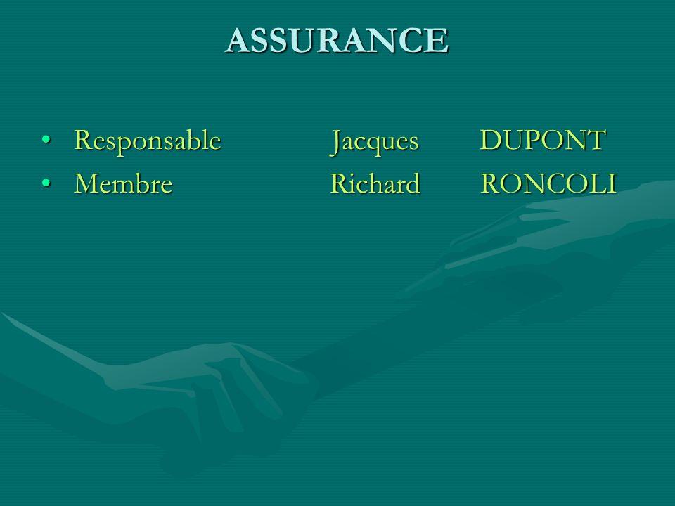 ASSURANCE Responsable Jacques DUPONT.