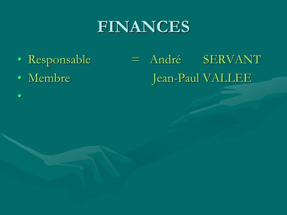 FINANCESResponsable = André SERVANT.