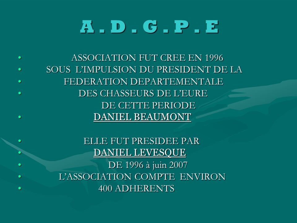 A . D . G . P . E ASSOCIATION FUT CREE EN 1996