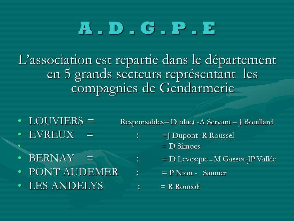 A . D . G . P . EL'association est repartie dans le département en 5 grands secteurs représentant les compagnies de Gendarmerie.