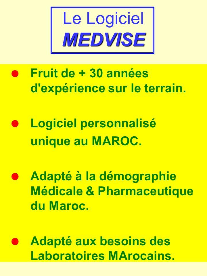 Le Logiciel MEDVISE = Fruit de + 30 années d expérience sur le terrain. = Logiciel personnalisé.