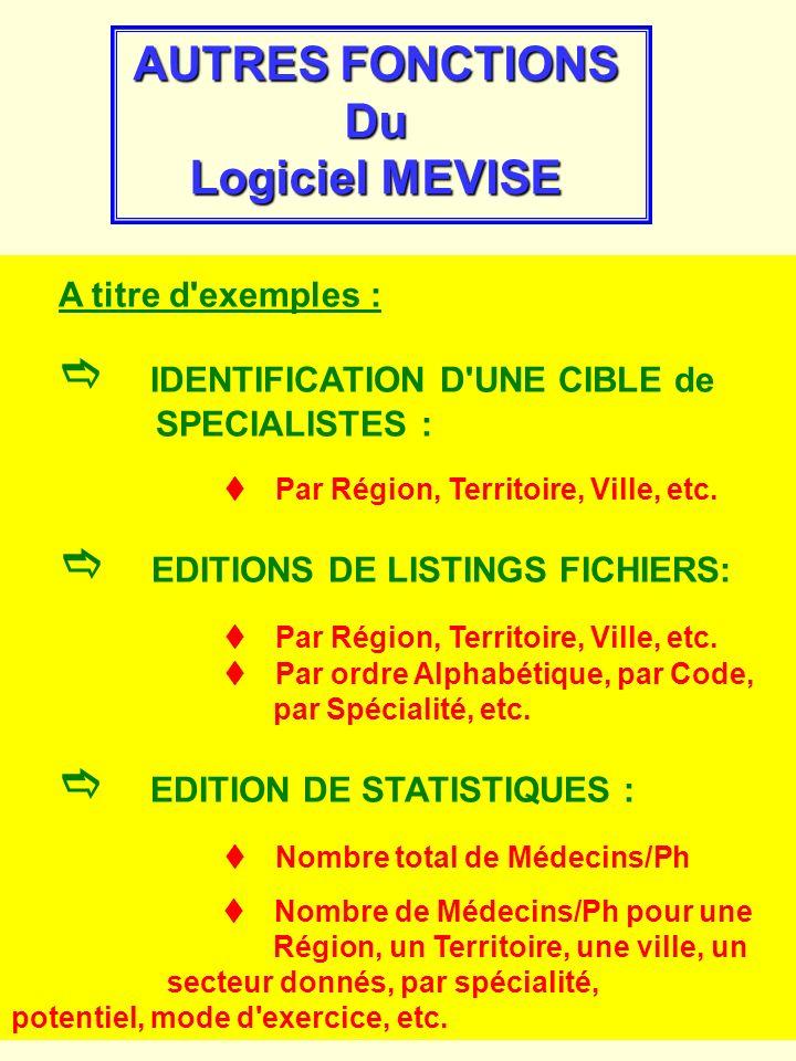 AUTRES FONCTIONS Du Logiciel MEVISE
