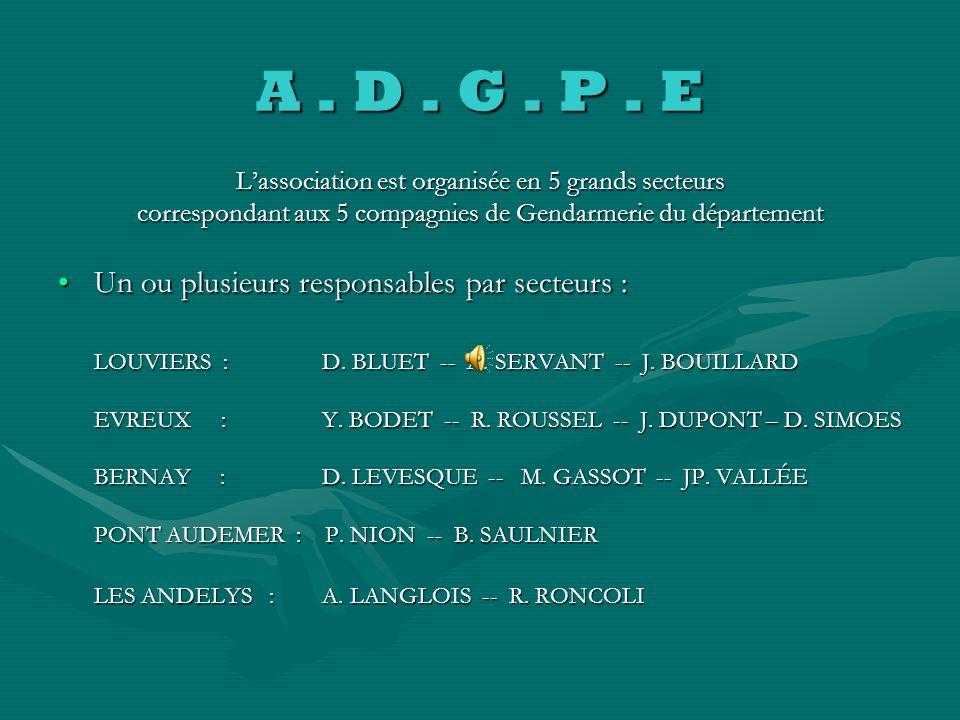 A . D . G . P . E Un ou plusieurs responsables par secteurs :
