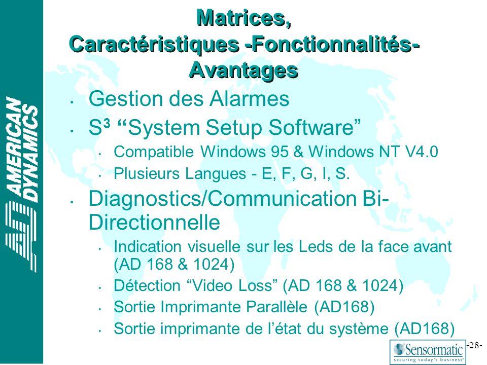 Matrices, Caractéristiques -Fonctionnalités- Avantages