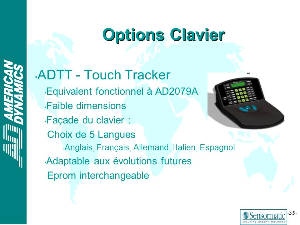 Options Clavier ADTT - Touch Tracker Equivalent fonctionnel à AD2079A