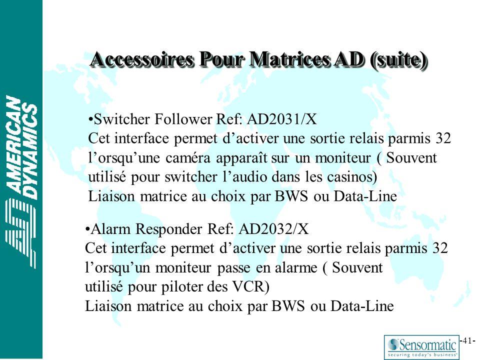 Accessoires Pour Matrices AD (suite)