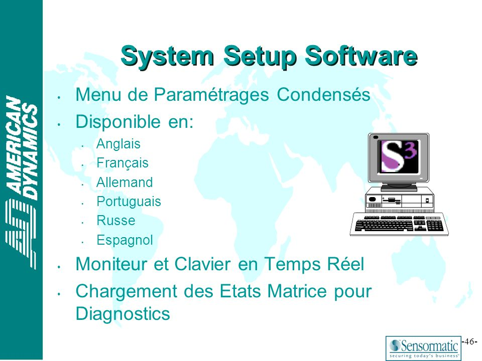 System Setup Software Menu de Paramétrages Condensés Disponible en: