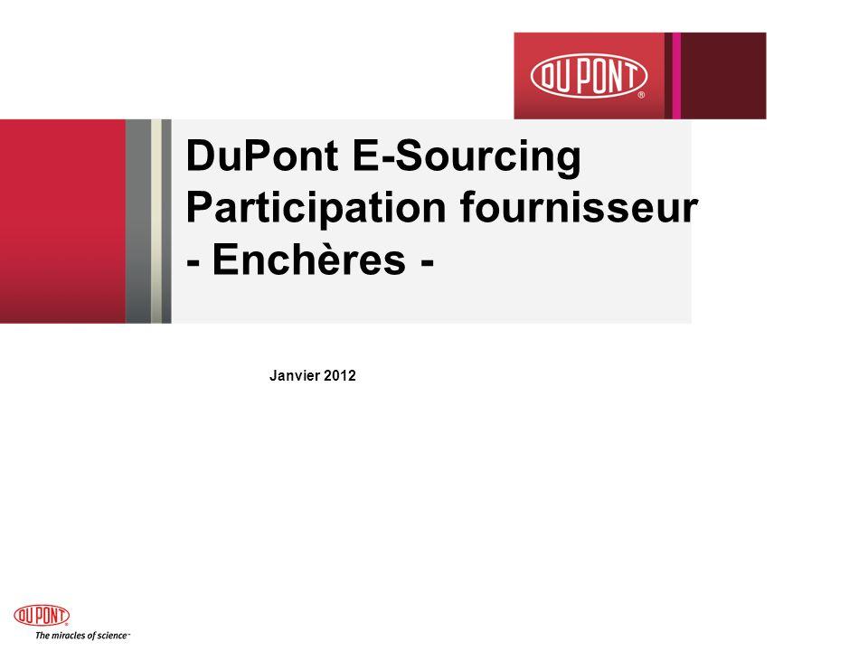 DuPont E-Sourcing Participation fournisseur - Enchères -