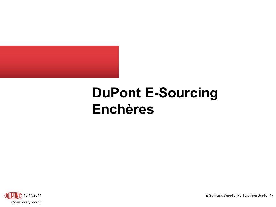 DuPont E-Sourcing Enchères
