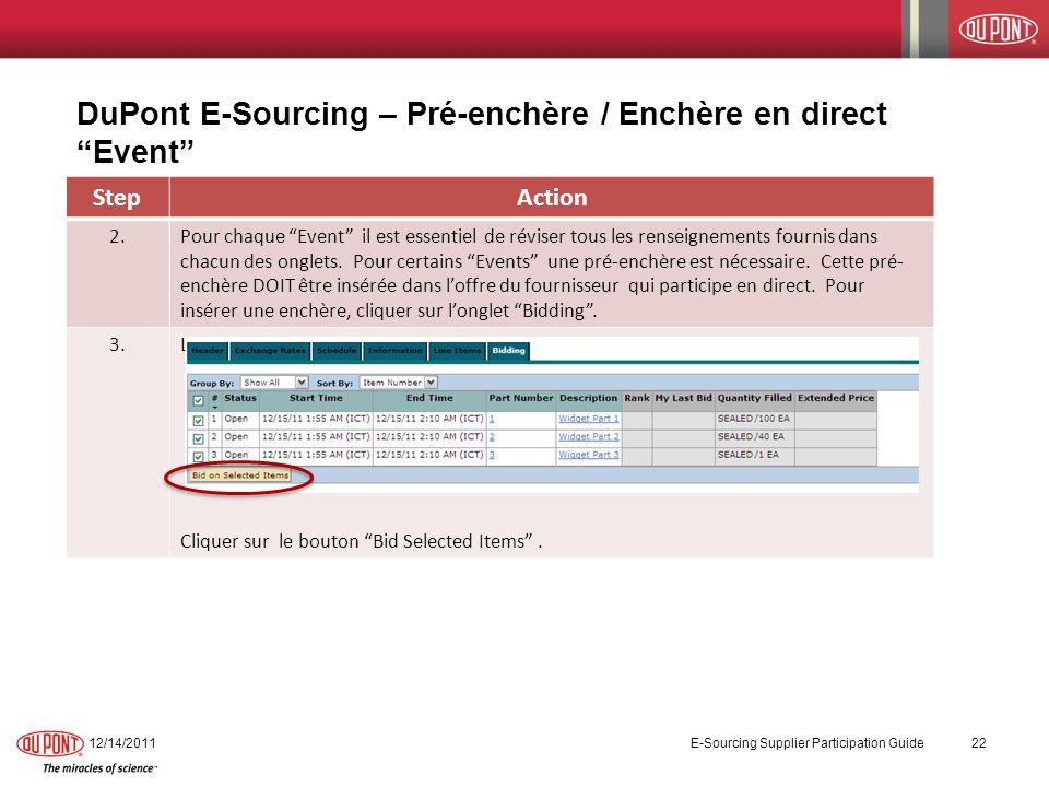 DuPont E-Sourcing – Pré-enchère / Enchère en direct Event