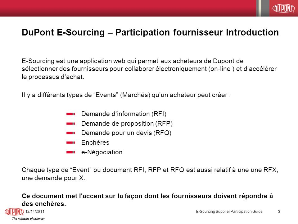 DuPont E-Sourcing – Participation fournisseur Introduction