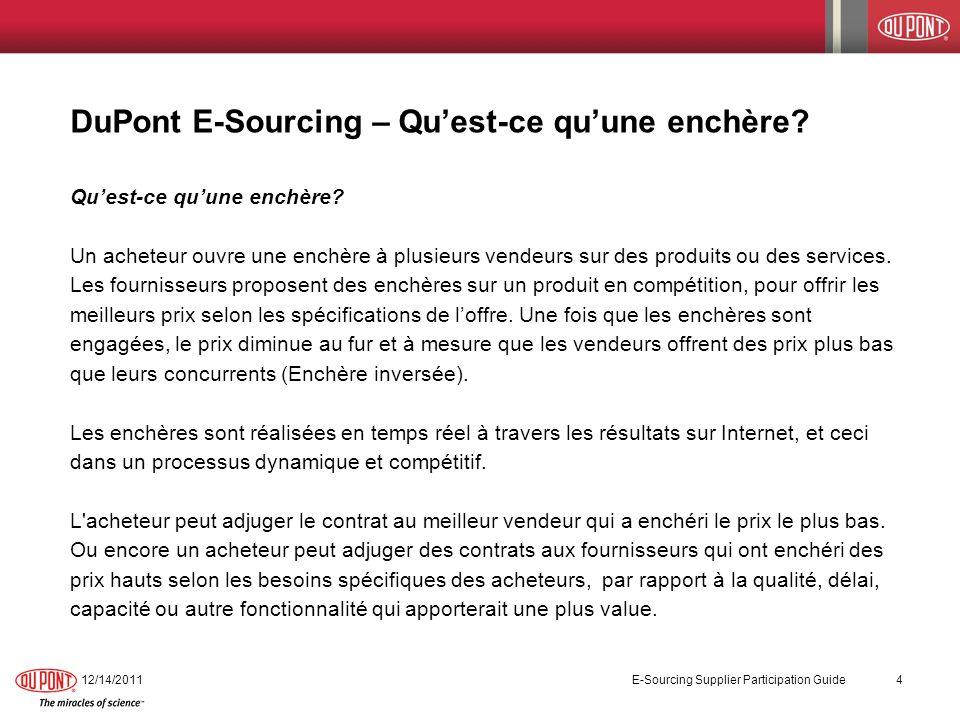 DuPont E-Sourcing – Qu'est-ce qu'une enchère