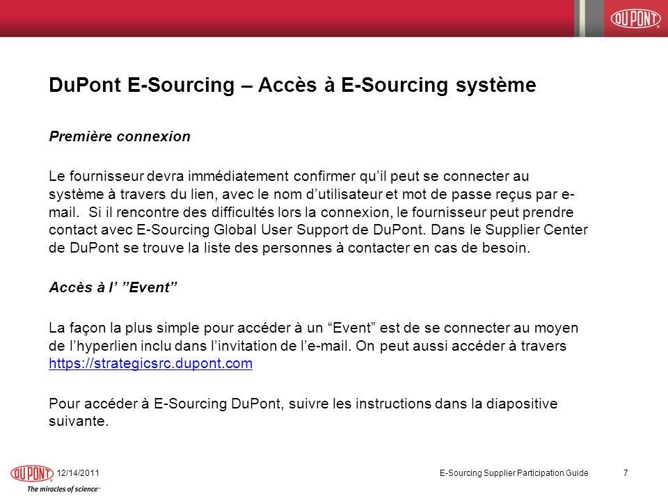 DuPont E-Sourcing – Accès à E-Sourcing système