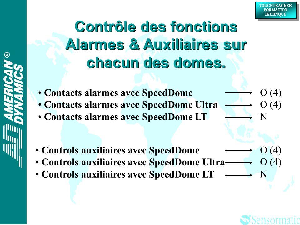 Contrôle des fonctions Alarmes & Auxiliaires sur chacun des domes.