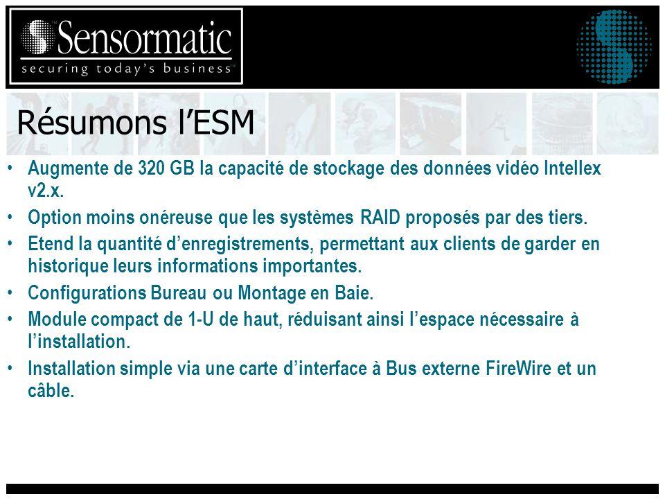 Résumons l'ESM Augmente de 320 GB la capacité de stockage des données vidéo Intellex v2.x.