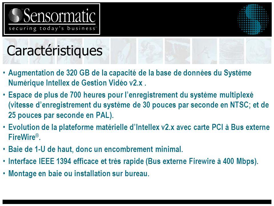 Caractéristiques Augmentation de 320 GB de la capacité de la base de données du Système Numérique Intellex de Gestion Vidéo v2.x .