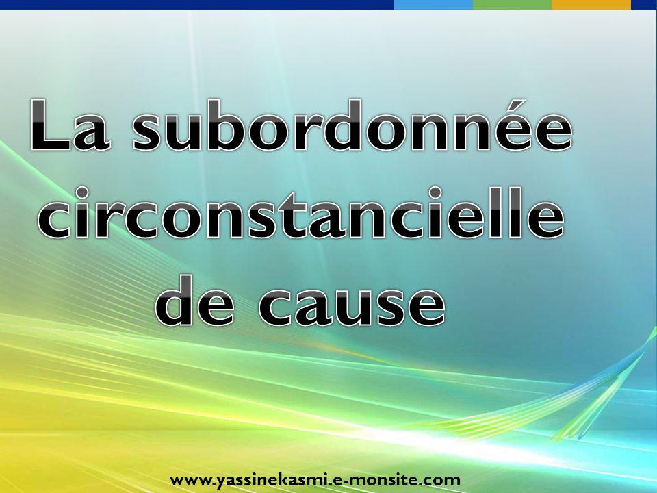 La subordonnée circonstancielle de cause
