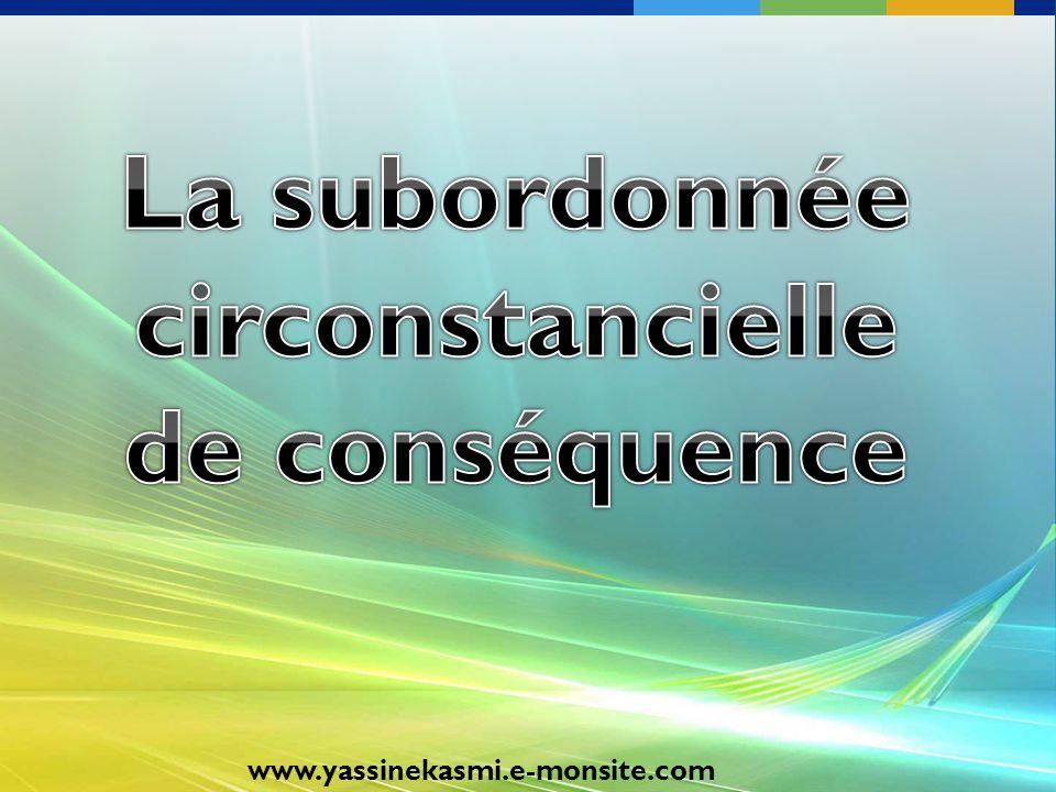 La subordonnée circonstancielle de conséquence