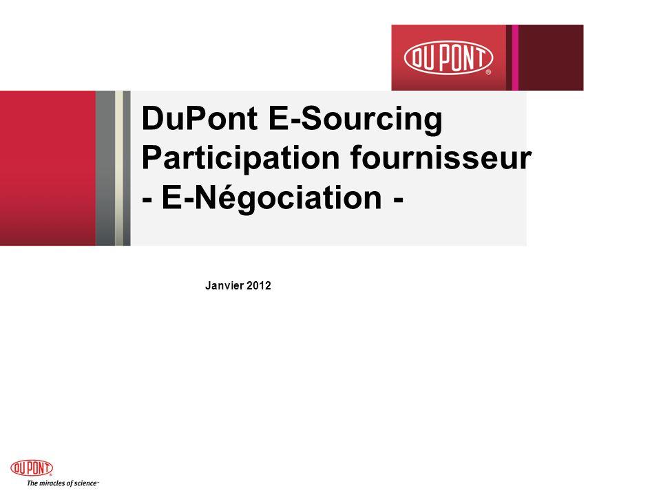 DuPont E-Sourcing Participation fournisseur - E-Négociation -