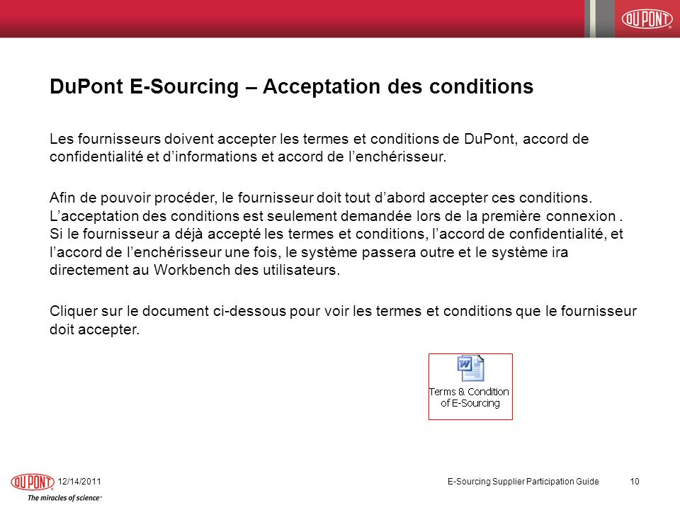 DuPont E-Sourcing – Acceptation des conditions