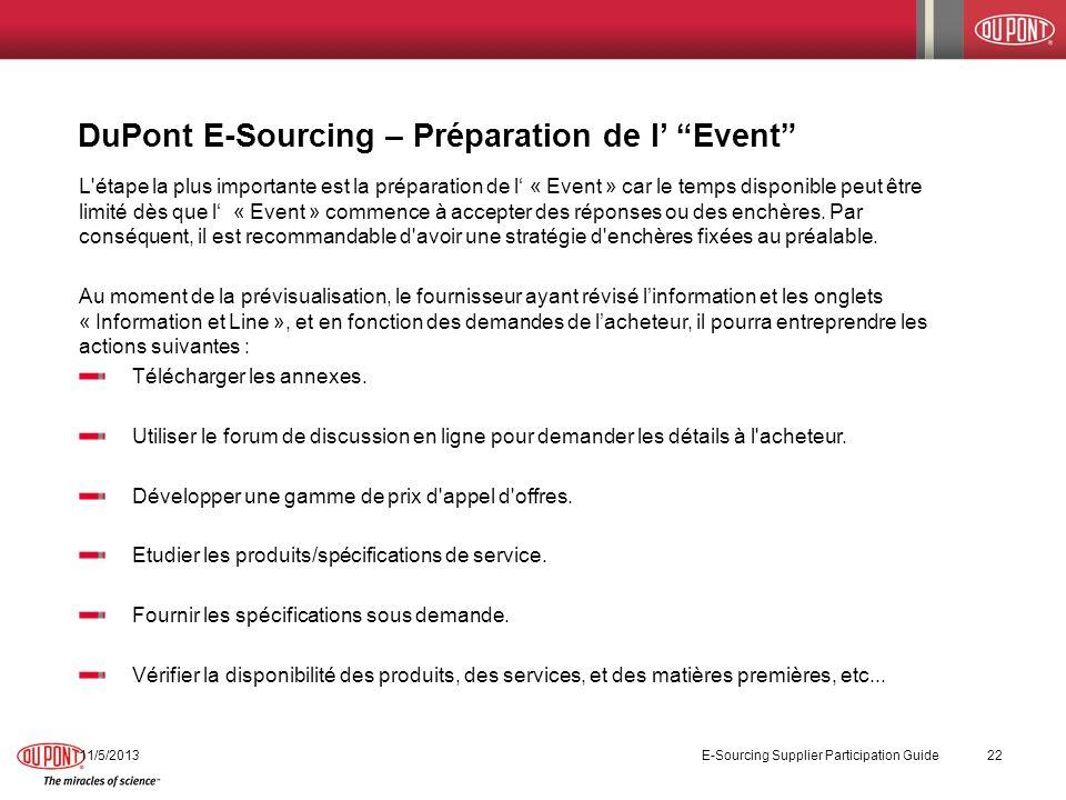 DuPont E-Sourcing – Préparation de l' Event