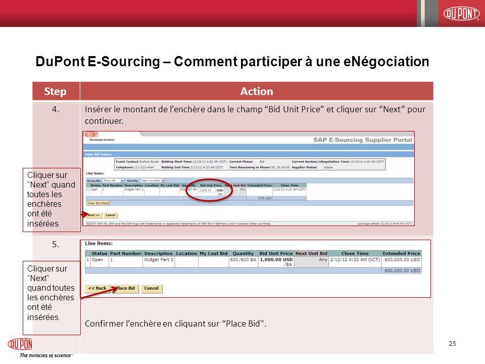DuPont E-Sourcing – Comment participer à une eNégociation