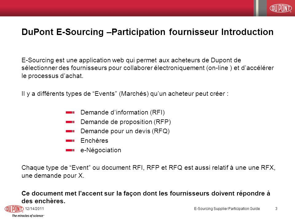 DuPont E-Sourcing –Participation fournisseur Introduction