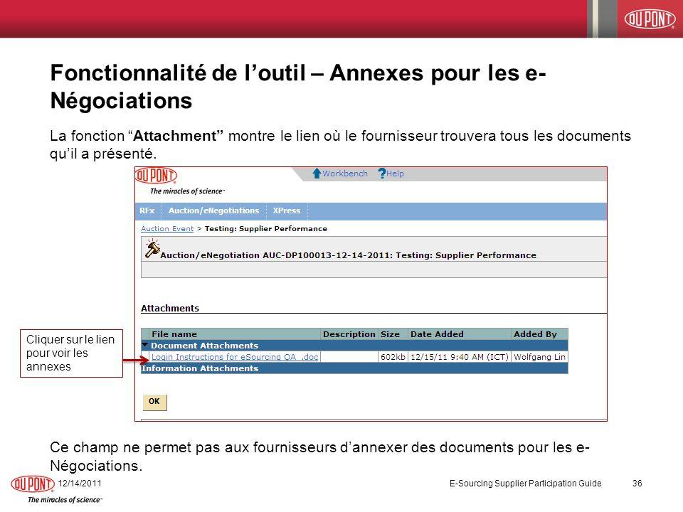 Fonctionnalité de l'outil – Annexes pour les e-Négociations