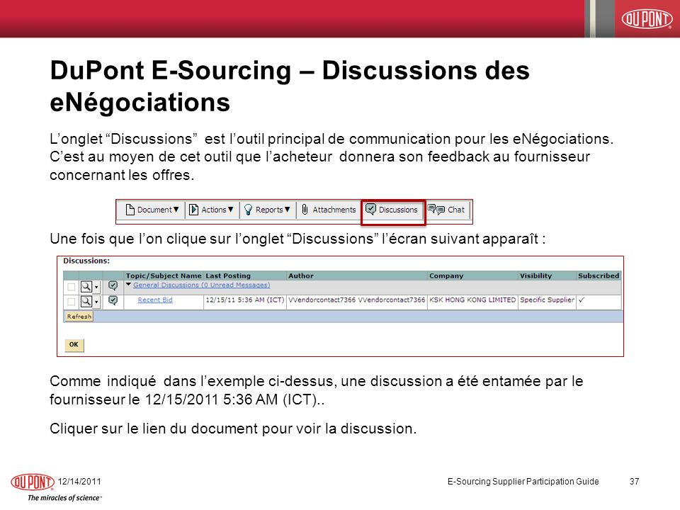 DuPont E-Sourcing – Discussions des eNégociations