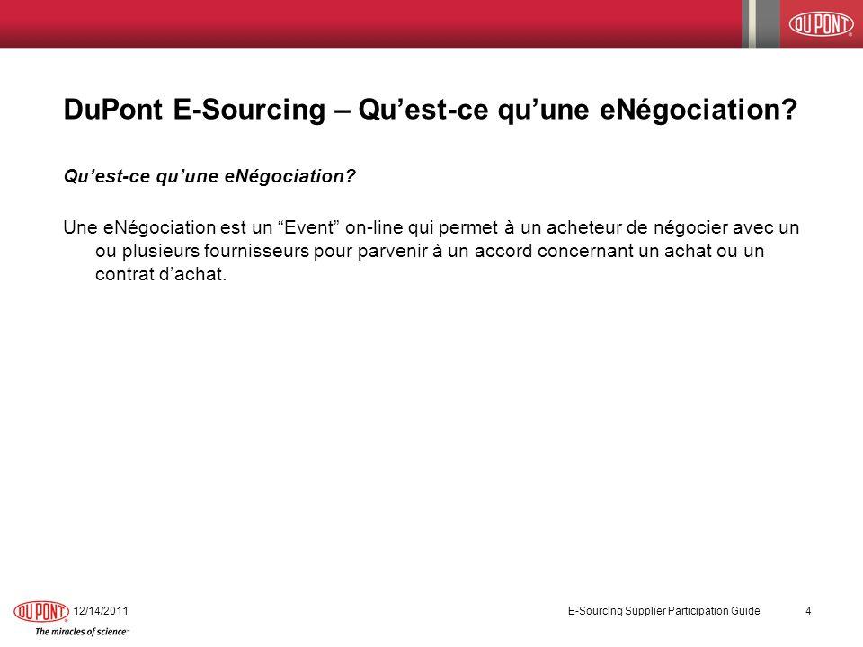 DuPont E-Sourcing – Qu'est-ce qu'une eNégociation