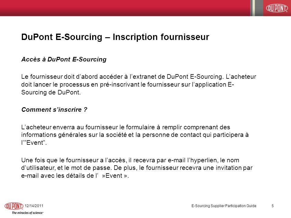 DuPont E-Sourcing – Inscription fournisseur