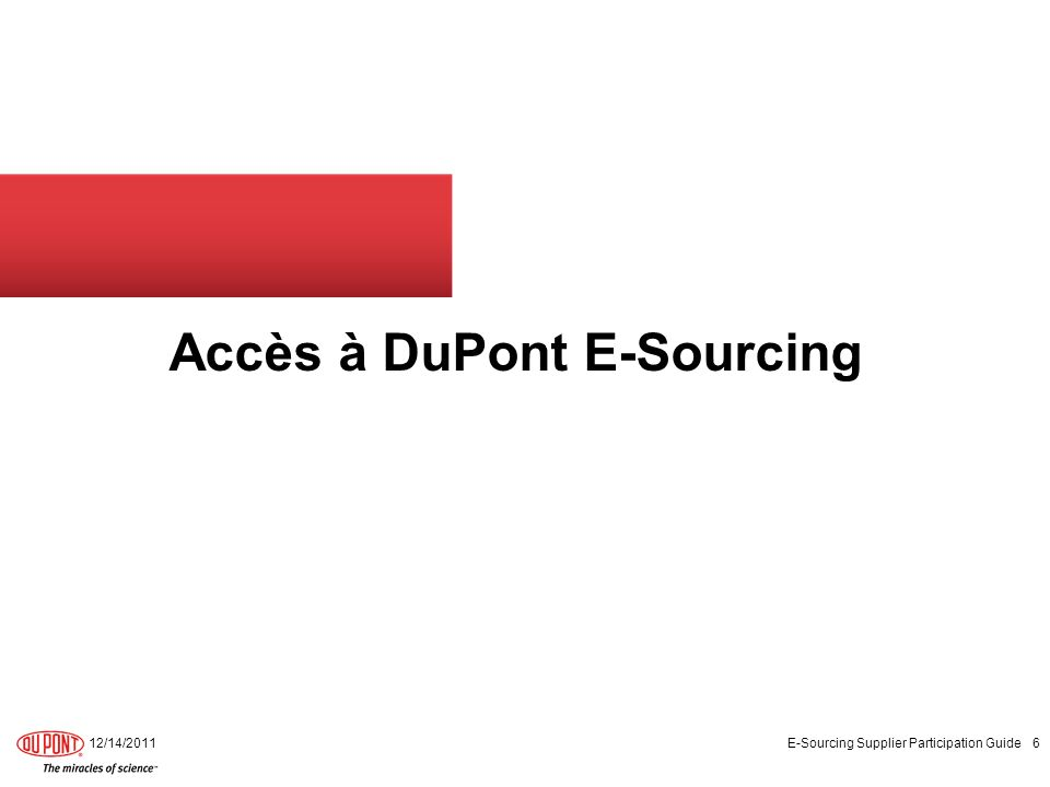 Accès à DuPont E-Sourcing
