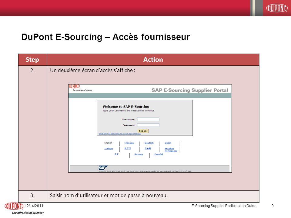DuPont E-Sourcing – Accès fournisseur