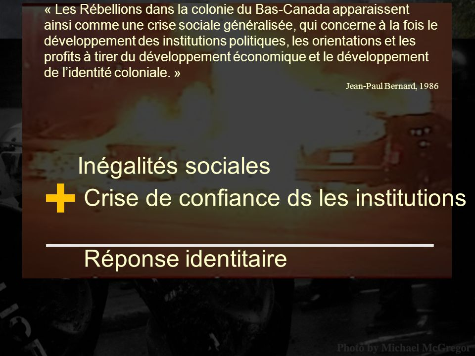 + Inégalités sociales Crise de confiance ds les institutions