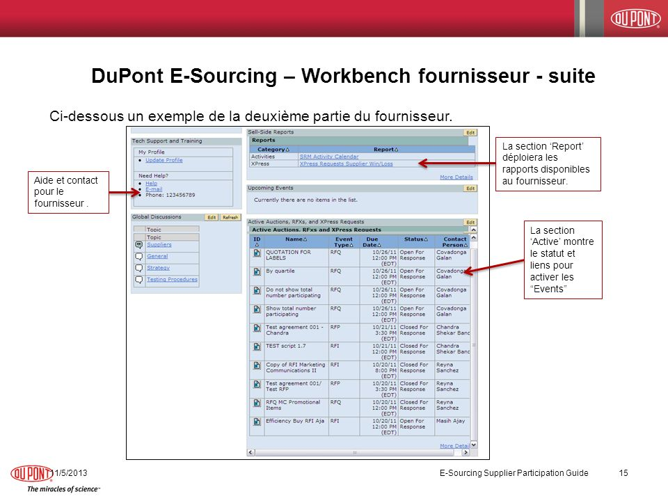 DuPont E-Sourcing – Workbench fournisseur - suite
