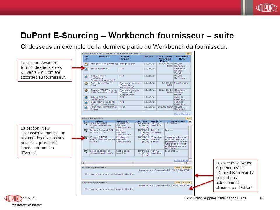 DuPont E-Sourcing – Workbench fournisseur – suite