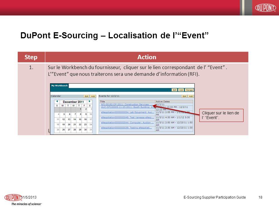 DuPont E-Sourcing – Localisation de l' Event