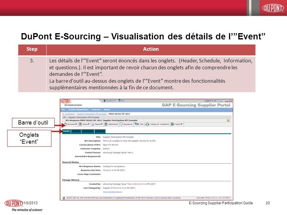 DuPont E-Sourcing – Visualisation des détails de l' Event