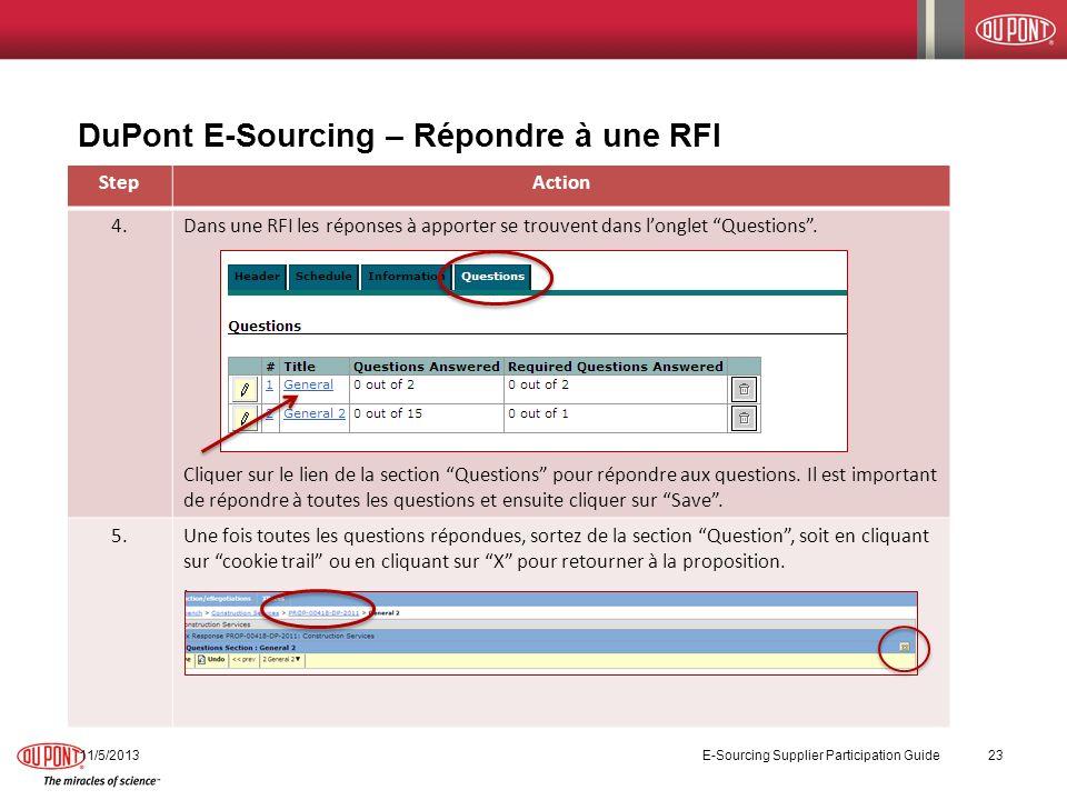 DuPont E-Sourcing – Répondre à une RFI